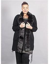 Edmond Boublil - Vêtement Femme Grande Taille Gilet Aspect Fourrure Noire
