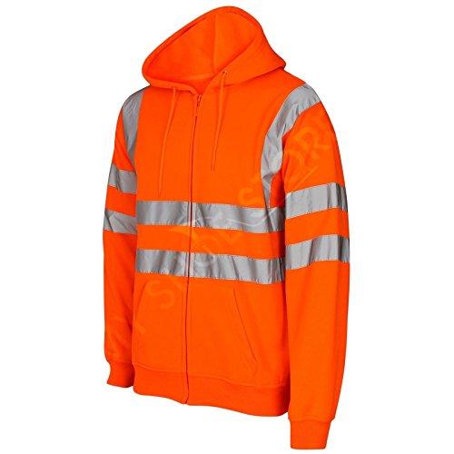 Myshoestore - Salut Viz Vis Visibilité À Capuchon Réfléchissant Zip De Travail En Molleton Sweat Veste Orange