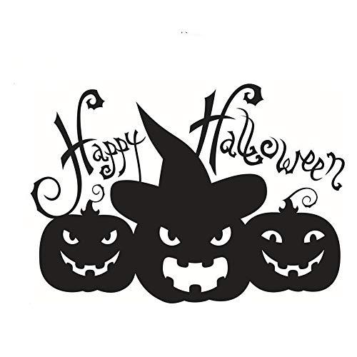 ARAYACY Wandaufkleber Personalisierte Kürbis Halloween Glücklich Dekorative Tapete/Entfernen Umwelt Aufkleber 58 * 39 cm (schwarz/Weiß),Black (Schablonen Autos Halloween-kürbis)