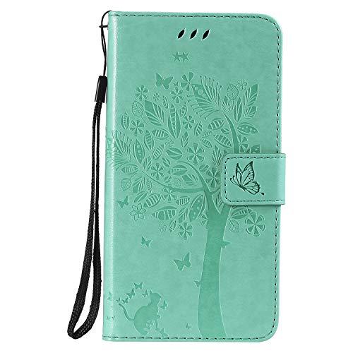Lomogo Cover iPhone XR, Custodia Portafoglio in Pelle Porta Carta di Credito con Chiusura Magnetica per Apple iPhone XR - LOKTU22243 Verde