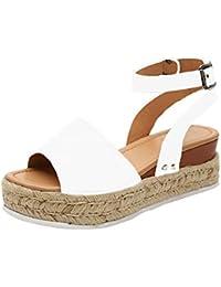 d1759e137e9 Vertvie Femme Sandales Compensées Bout Ouvert Chaussures Été Imprimé  Léopard Plateforme Lanière Cheville Boucle ...