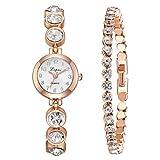 Relojes De Lujo 3Pcs / Set,Brazalete Lleno De Diamantes Esfera Simple Reloj De Tira De Acero Reloj NiñA Bracelet Best Gift