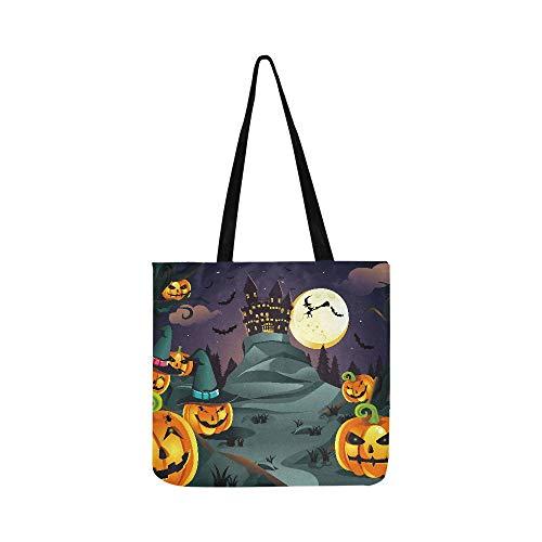 A Vector Illustration von Halloween Hintergrund mit Canvas Tote Handtasche Umhängetasche Crossbody Taschen Geldbörse für Männer und Frauen Einkaufstasche