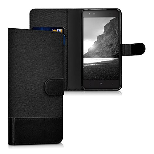 kwmobile bq Aquaris X5 Plus Hülle - Kunstleder Wallet Case für bq Aquaris X5 Plus mit Kartenfächern & Stand