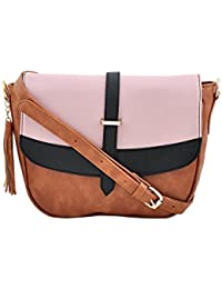 Yelloe Tan Synthetic Leather Sling Bag With Fantastic Flap Look In Multicolor.
