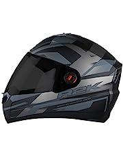 Steelbird SBA-1 R2K Full Face Graphics Helmet in Matt Finish with Smoke Visor (Large 600 MM, Matt Black with Grey)