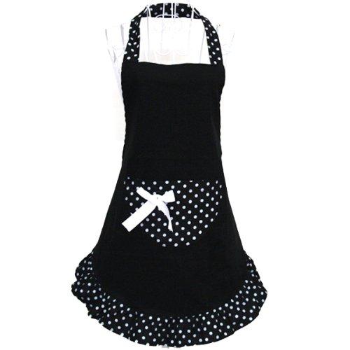 Foxnovo Licou Dots Pattern sans manches Style coton tissu tablier cuisine tablier noir de mod