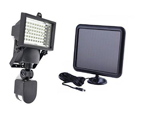 MCTECH® 60 LEDs Kaltweiß SMD Strahler Fluter Außen Flutlicht Flutlichtstrahler Solarleuchte mit PIR Bewegungsmelder Einstellbare Verzögerungszeit und Helligkeit und Sensorbereich Schwarz