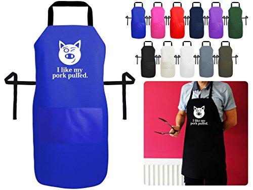 I like my Schweinefleisch gezogen Lustige Schürze für Küche und BBQ–British Made Premium-Schürze mit Tasche, Baumwolle/Polyester-Baumwoll-Mischgewebe, a. Royal Blue Polycotton, Medium 70cm x 56cm (Royal Blue Snap)