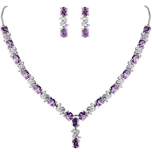 Clearine Damen Elegant Delicate Cubic Zirconia Unendlichkeit Y-Form Halskette Dangle Ohrringe Set Amethystfarben