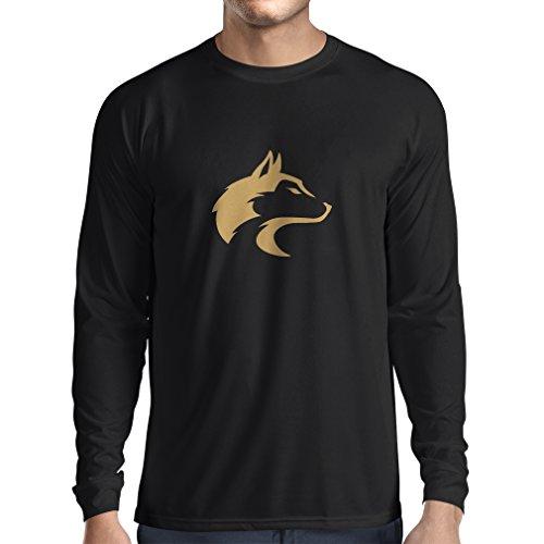 Camiseta de Manga Larga para Hombre la Llamada del Lobo Salvaje - gráfico Genial con sentimiento Espiritual (XXX-Large Negro Oro)