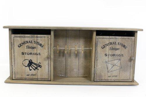 Armario Vintage para llaves, de madera, con puertas, gancho y sujeción para bloc de notas