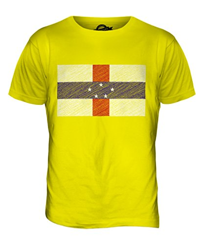 CandyMix Niederländische Antillen Kritzelte Flagge Herren T Shirt Zitronengelb