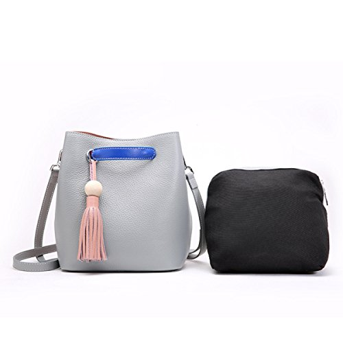 ZPFME Frauen Handtasche Leder Damen Tasche Mode Messenger Bag Schultertasche Mädchen Party Retro Damen Mode Kampf Farbe Wild Grey