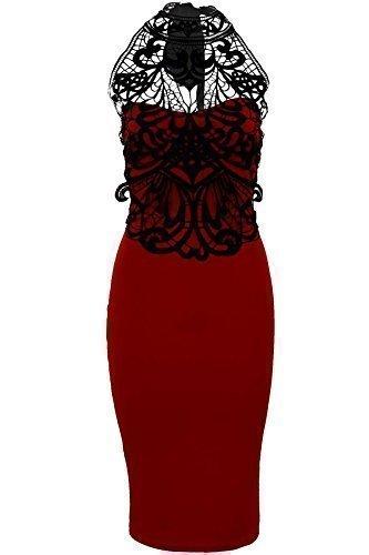 SAPHIR Femmes Crochet Dentelle Col Montant femmes Attache Dos Fourreau Moulant Robe Soirée Rouge