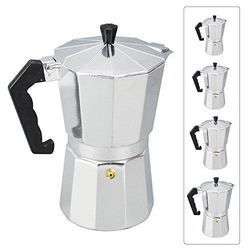 Macchina per caffè espresso in alluminio, portatile, caffellatte, moka, fornello, macchina da caffè, argento, 1/3/6/9/12 tazze 150 ml Silver