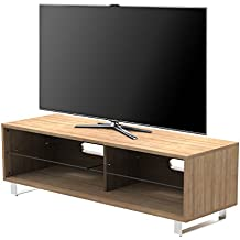 "1home Soporte de TV Soporte de cristal de estante hasta 60 ""TV de pantalla plana LED LCD Nogal Cereza"