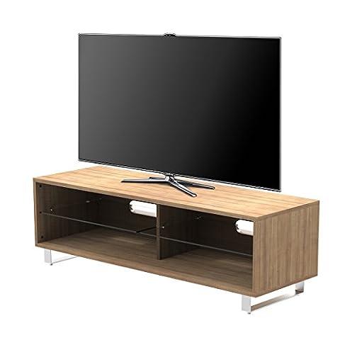 1home TV Cabinet Bois Etagères Adjustable Pieds Forme U Largeur 120cm, Bois Naturel