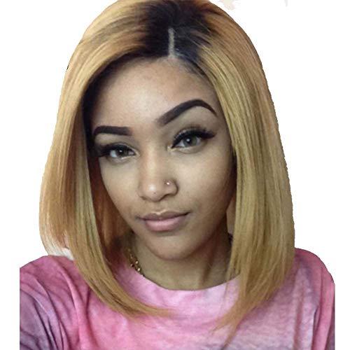 BOBO Head perruque femme or dégradé courte perruque cheveux raides haute température en soie rose net perruque ()