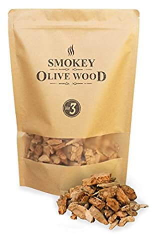 1.7 liters Olive Wood Smoking Chips, coarse grained, size 2 - 3 cm, Smokey Olive Wood