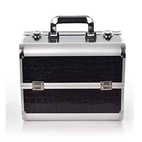 Professionelle Kosmetische Fälle (FaSoLa Tragbare Aluminium kosmetische Fall professionelle Zwei Schichten Nagel Friseur Toolbox weiblich blau schwarz (32 * 25 * 21 cm))
