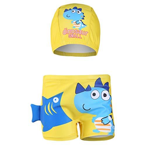 wuayi  Jungen Badeanzug, Jungen Cartoon Dinosaur Fisch Print Flachwinkel Schwimmshorts + Hut 1-8 Jahre - 7 Badeanzug