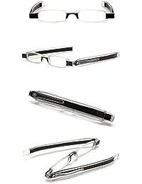 ID 360 Rotating Tube Pen Clip Folding Reading Glasses (Black & Assorted Colors) (+2.00, Black & Assorted)