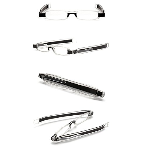 ID 360 Rotating Tube Pen Clip Folding Reading Glasses (Black & Assorted Colors) (+2.50, Black & Assorted)
