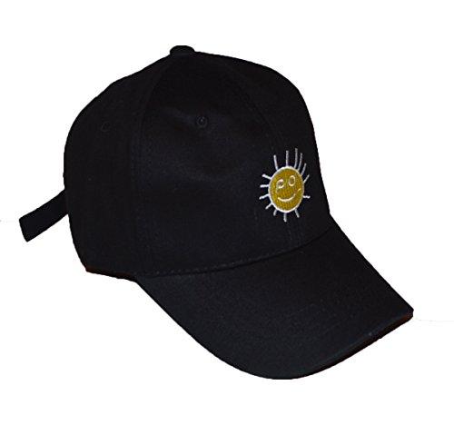 KGM Accessories Cool New Sunny Happy Face Slogan Baseball Cap Schwarz