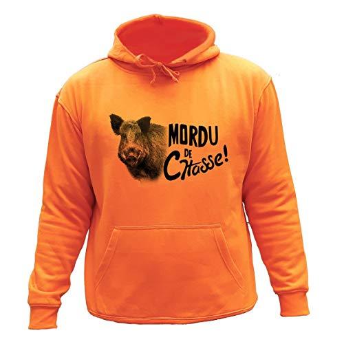 AtooDog Pull Sweat de Chasse, Mordu de Chasse, Sanglier (3XL, Orange,239)