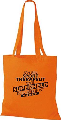 Shirtstown Stoffbeutel Ich bin Sporttherapeut, weil Superheld kein Beruf ist orange