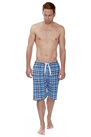 Mens Shorts Cargo Bay Flannel Lounge Trunks Men 100% Cotton Check Sleep Short Pants (SKY FLANNEL, MEDIUM