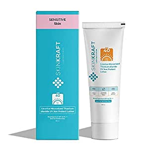 SkinKraft Licorice Micronized Titanium dioxide UV Sun Protect Lotion Broad Spectrum SPF 40 PA +++ - Customized Sunscreen - For Sensitive Skin - Non-Comedogenic - Hypoallergenic - Fast Absorbing - Dermatologist Approved - Paraben Free - Sulphate Free - Fragrance Free - Broad Spectrum Sunscreen with SPF PA 40+++ - 50ml