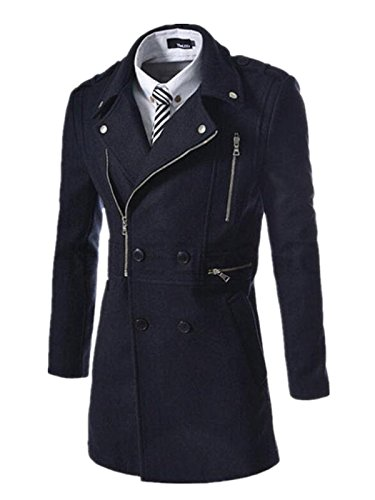 Fanessy Herren Coat Zweireiher & Slim Fit Winter-Mantel Dunkelblau