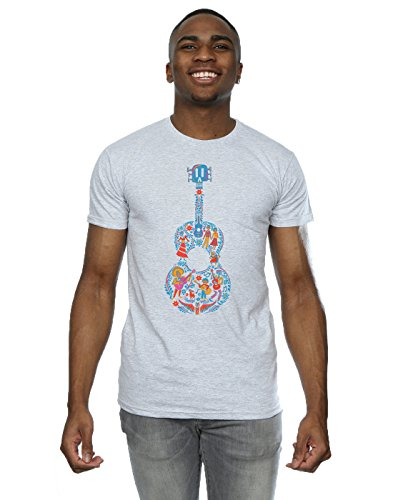 Disney Herren Coco Guitar Pattern T-Shirt Sport Grey