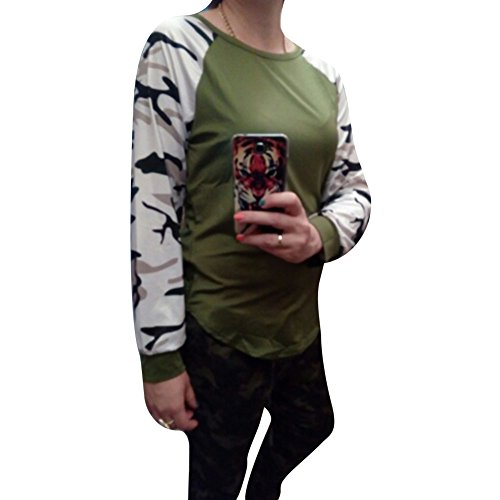 Juleya patchwork manica lunga Army Camouflage T-shirt Donne Top Army Green