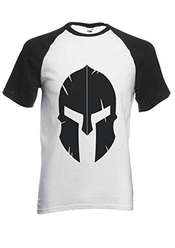 Spartan Helmet Gym Workout Gladiator Novelty Black/White Men Women Unisex Short Sleeve Baseball T Shirt-S -