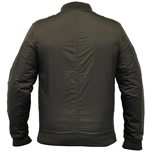 Gilet Hommes Threadbare Manteau MA1 Harrington rembourré Badge Militaire Universitaire Hiver Kaki - DMV143PKA