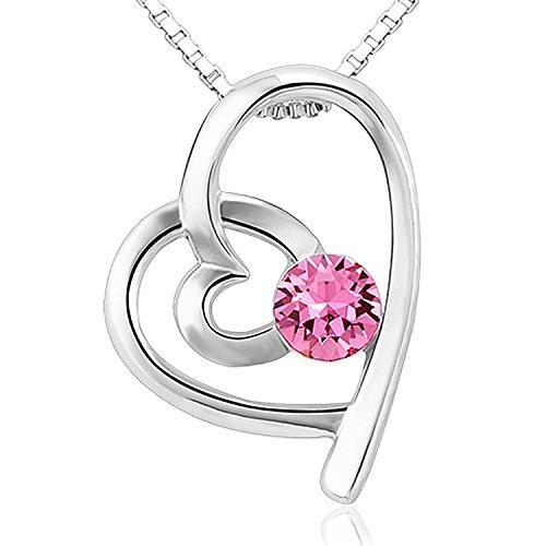 Christmas Gifts Swarovski Elements pink Double Heart Befestigung Anhänger für Frauen und Mädchen (Anhänger-beleuchtungs-befestigung)