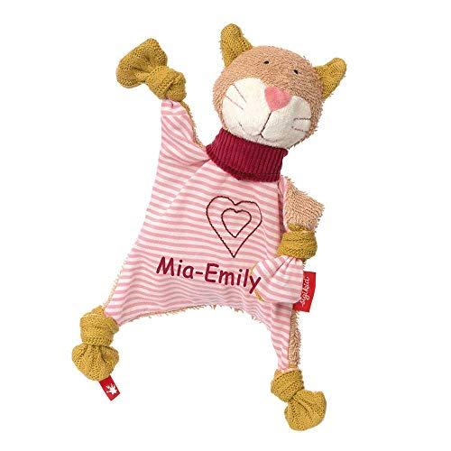 Sigikid Schmusetuch Katze Urban mit Namen bestickt Baby Geschenk zur Geburt Schnuffeltuch