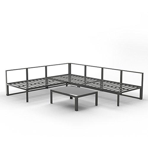 OSKAR Alu Lounge Gartenmöbel Set inkl. Palettenkissen mit Flockenfüllung + Tisch Gartenlounge Sitzgarnitur Sitzgruppe Grau
