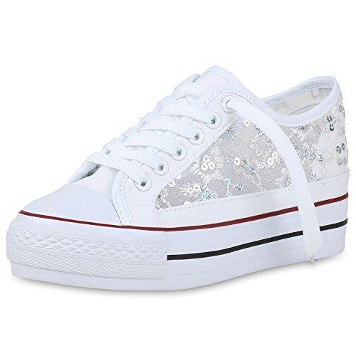 SCARPE VITA Donna Sneakers con Zeppa Alta Pizzo Paillettes 157477 Bianco 39