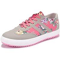 Zapatos Ocasionales De Las Mujeres Zapatos Corrientes Ligeros Impresos Zapatos Planos con Cordones Respirables Mujeres Zapatillas Zapatos para Caminar Mujeres