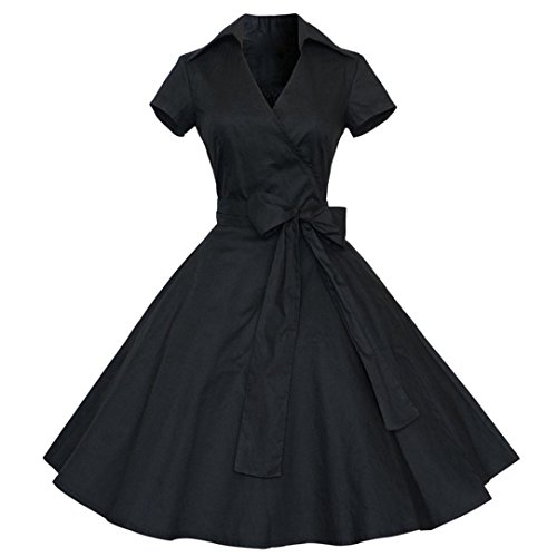 Damen Vintage Kleid Yesmile Hepburn 50er Retro Vintage Rockabilly Kleid Pin Up Übergröße Rockabilly Cocktail Party Ball Rock Abendkleider Petticoat (S, - Flapper Girl Kostüm Übergröße