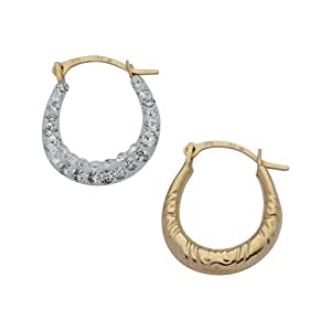 Adara 9 ct Gold Crystalique Mini Creole Earrings