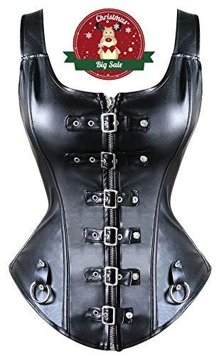 Beauty-You Donna Sexy Burlesque Corsetto Ecopelle Cintura Intimo Bustino Lacci Cerniera Nero Nero #4 S