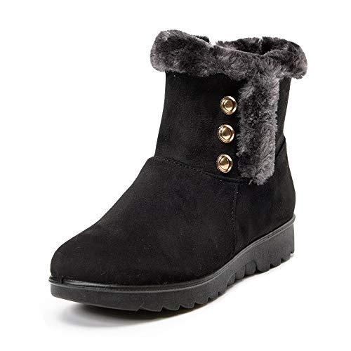 ➤Refill➤Winterschuhe Damen Wildleder Winterstiefel Warm Gefüttert Schneestiefel Ankle Stiefeletten Winter Schlupfstiefel Kurzschaft Stiefel Boots Outdoor Boots