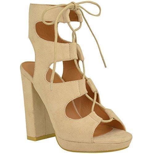 Sandales pour femmes lacet talon Couleur Chair Daim Synthétique