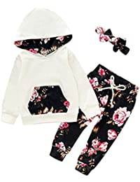 Vectry Ropa para Disfraz Conjunto Infantil Bebé Niñas Sudadera con Capucha Y Impresión Floral Camiseta Tops + Pantalones Conjuntos Trajes Otoño Invierno Trajes