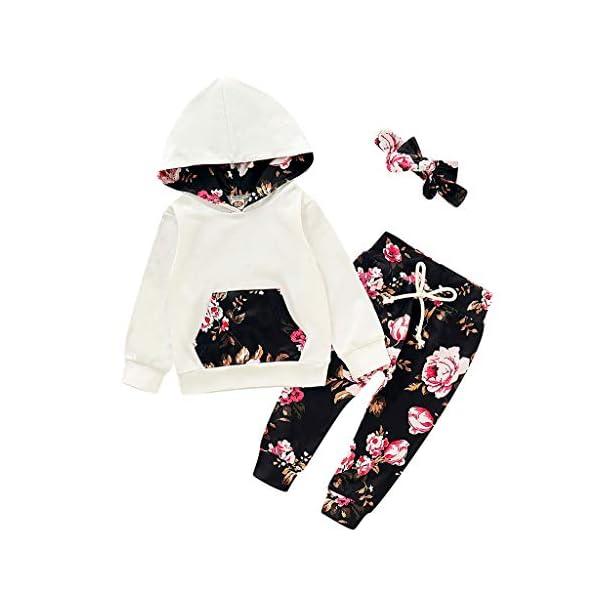 Vectry Ropa para Disfraz Conjunto Infantil Bebé Niñas Sudadera con Capucha Y Impresión Floral Camiseta Tops + Pantalones… 1